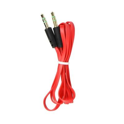 Kabel AUX JACK STEREO 3,5mm 1m barva červená/černá