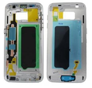 Samsung G930 Galaxy S7 kryt střední + boční tlačítka a flexy tlačítek bílá / stříbrná