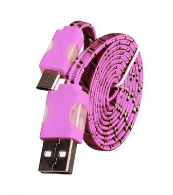 Datový kabel micro USB TYP-C - Svítící barva růžová