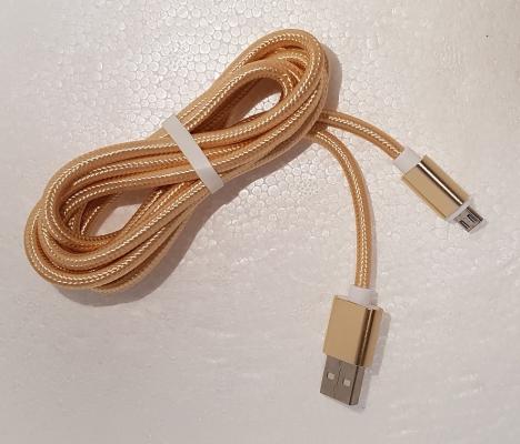 Datový kabel micro USB UNICORNO barva zlatá - 2 metry