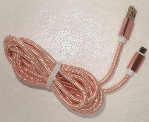 Datový kabel micro USB UNICORNO barva růžová - 2 metry