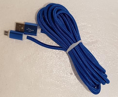 Datový kabel micro USB UNICORNO barva modrá - 3 metry