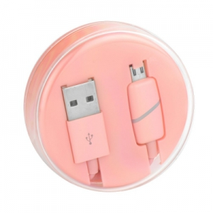 Datový kabel micro USB barva růžová - Box