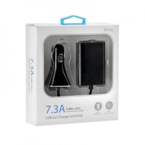 CL adaptér 4x USB 7,3A kabel 1,8m