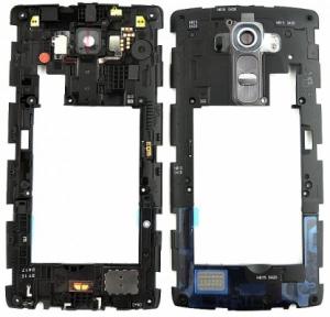 LG G4 H815 střední kryt + sklíčko foto, osazený originál barva černá
