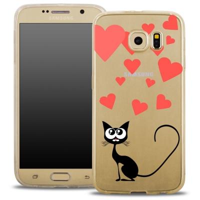 Pouzdro Back Case FASHION Samsung G935 Galaxy S7 Edge transaprentní - kočka srdíčka