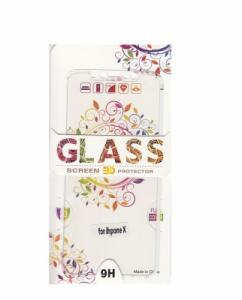 Tvrzené sklo 2,5D DESIGN Soft Frame Full Cover iPhone X vzor 2 bílá