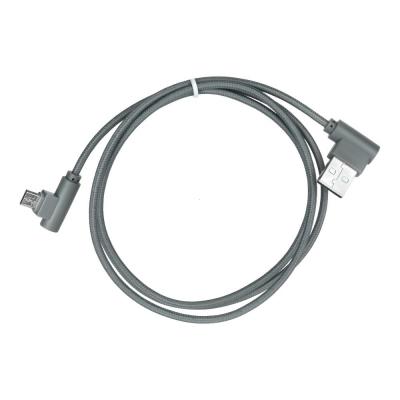 Datový kabel micro USB koncovky pravý úhel 90 barva šedá