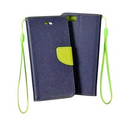 Pouzdro FANCY Diary TelOne iPhone 5, 5S, 5C, SE barva modrá/limetka