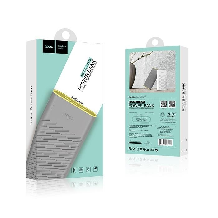 POWER Bank HOCO Rege B31A - 30000 mAh barva šedá