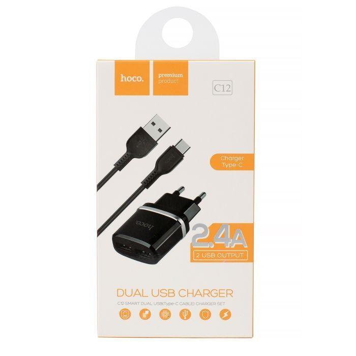 Cestovní nabíječ HOCO C12 2xUSB 2,4A + kabel micro USB TYP-C černá