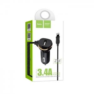 CL adaptér HOCO Z14 1x USB 3,4A + kabel iPhone 5, 6, 7, 8, X barva černá