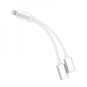 Adaptér 2x Lightning iPhone 5, 5S, 6, 6S, 7, 7P, 8, 8P, X barva stříbrná/černá