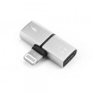 Adaptér SHORT HF/audio + nabíjení iPhone Lightning barva stříbrná