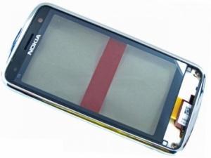 Dotyková deska Nokia C6-01 + kryt stříbrná