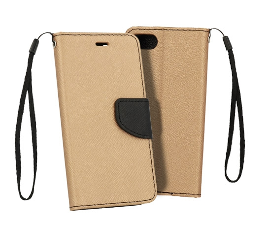 Pouzdro FANCY Diary TelOne Huawei Y6 (2018), Y6 PRIME (2018) barva zlatá/černá - bez otvoru otisku