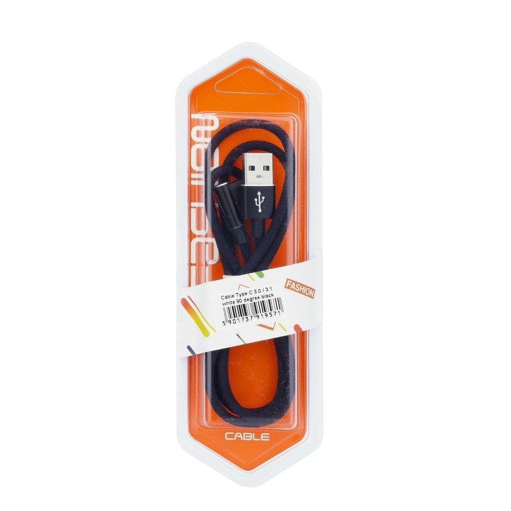 Datový kabel micro USB TYP-C 3.0 konektor pravý úhel barva černá (blistr)