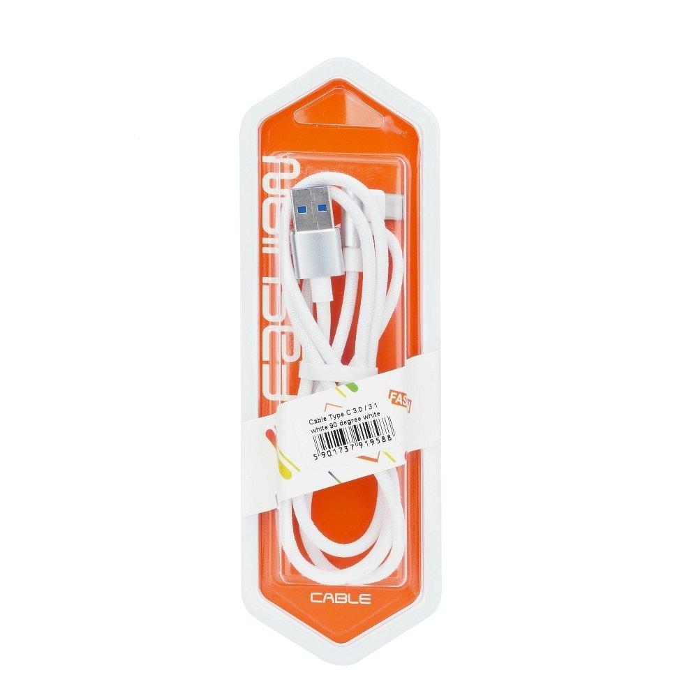 Datový kabel micro USB TYP-C 3.0 konektor pravý úhel barva bílá (blistr)