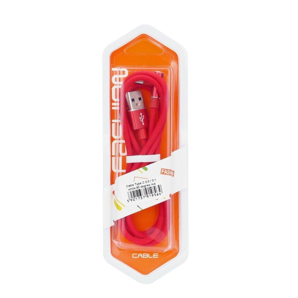 Datový kabel micro USB TYP-C 3.0 konektor pravý úhel barva červená (blistr)