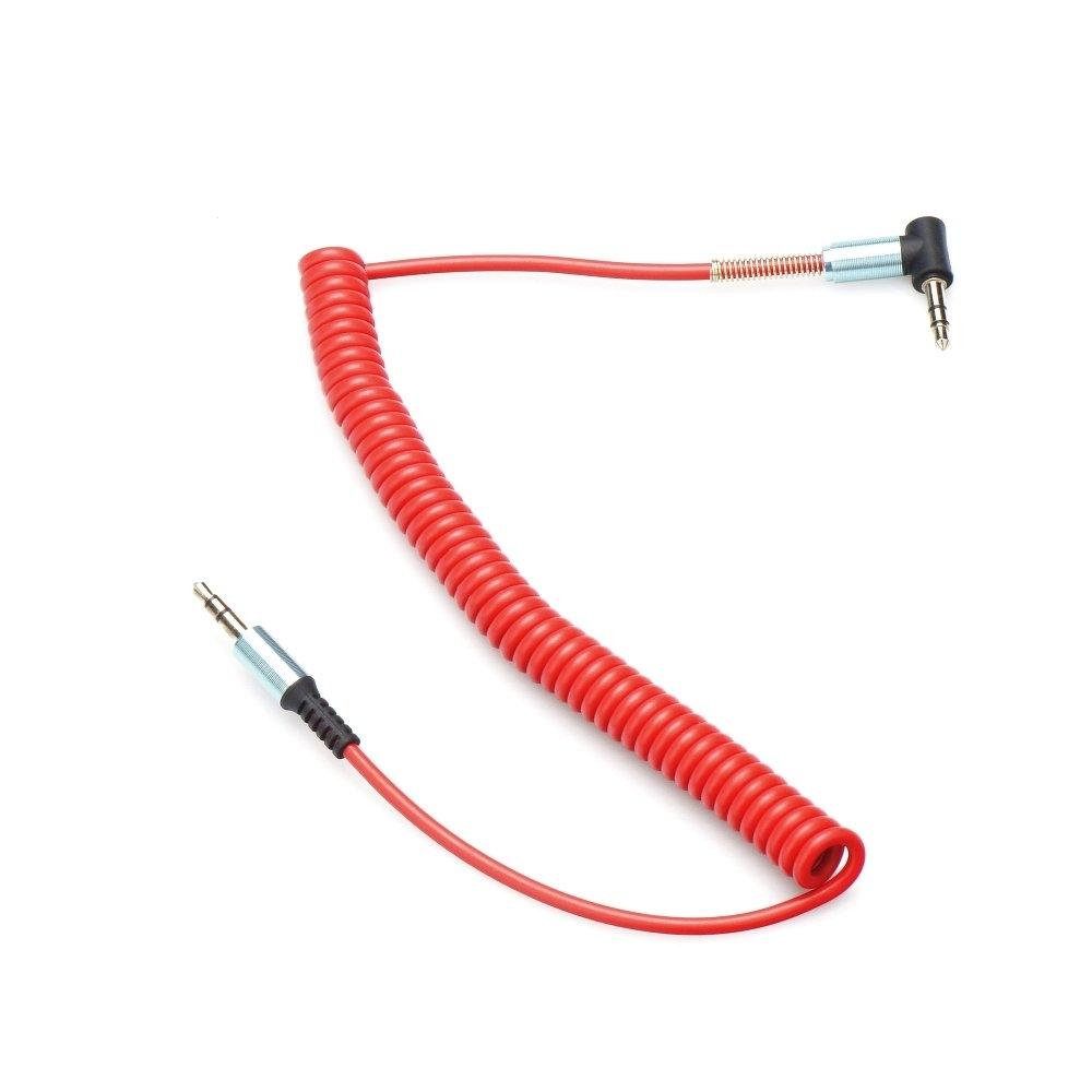 Kabel AUX JACK STEREO 3,5mm 1m SPIRALA koncovka 90 barva červená