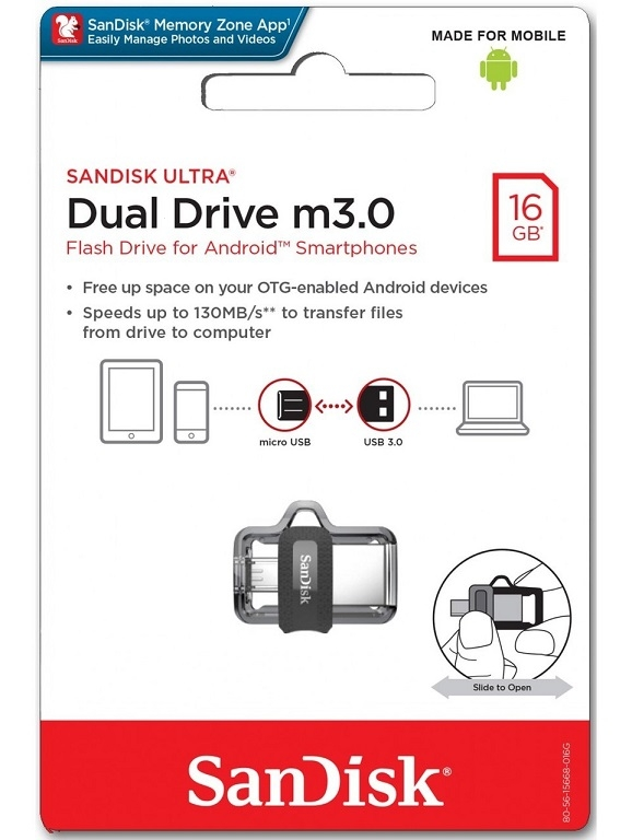 USB Flash Disk (PenDrive) SANDISK ULTRA DUAL DRIVE 16GB USB 3.0 130MB/s - micro USB