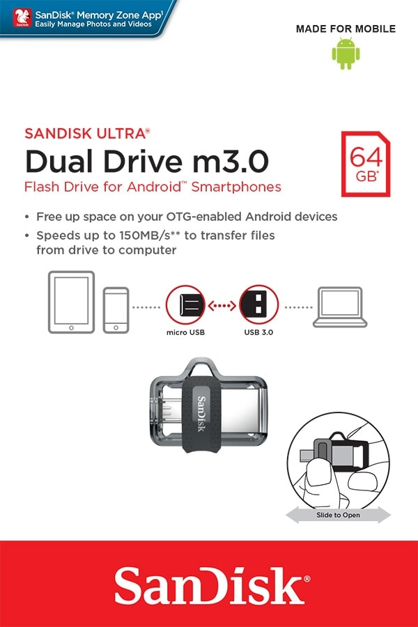 USB Flash Disk (PenDrive) SANDISK ULTRA DUAL DRIVE 64GB USB 3.0 150MB/s - micro USB