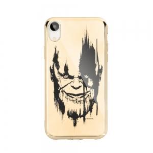 Pouzdro iPhone X, XS (5,8) MARVEL Thanos Luxory Chrome vzor 004 - gold